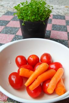 Free Baby Carrot And Fresh Tomato Royalty Free Stock Photography - 17532467