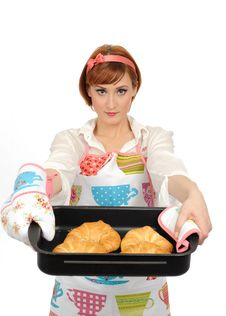 Free Beautiful Cooking Woman With Croissant Bread Royalty Free Stock Photo - 17532505