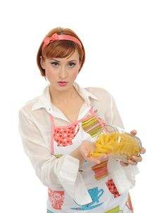 Free Beautiful Cooking Woman With Italian Pasta Stock Images - 17532594