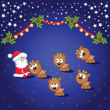 Free Santa And Deers Stock Images - 17532804