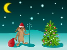 Christmas Tree And Rabbit Royalty Free Stock Images