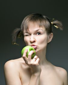 Free Girl With Apple Stock Photo - 17533270