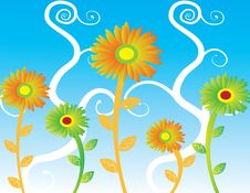 Free Abstract Sunflowers  Illustration Summer Royalty Free Stock Photos - 17535258
