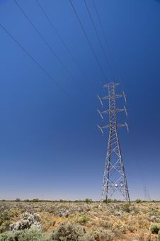 Power Lines In Outback Stock Photos