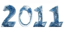 Free 2011 New Year Of Blue Water Front Royalty Free Stock Photography - 17536417