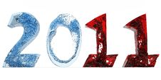 Free 2011 New Year Of Blue Water And Red Royalty Free Stock Photos - 17536428