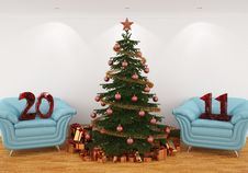 Christmas Tree In The Interior With 2011 Red Stock Image