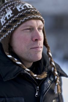 Free Man In Winter Hat Stock Photography - 17537042
