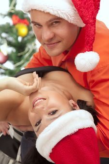 Free Lovely Couple Near A Christmas Tree Stock Photo - 17537520