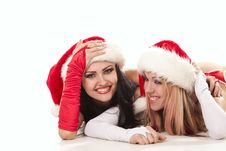 Free Playful Girls In Christmas Hats Royalty Free Stock Photo - 17537565