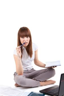 The Student Prepares For Examinations Stock Image