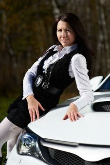 Free Beautiful Girl Model And Stylish White Sports Car Royalty Free Stock Photography - 17538067