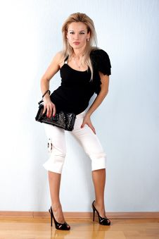 Woman With Clutch Bag Stock Photography