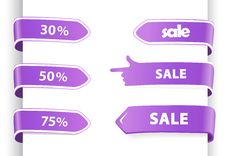 Free Set Of Orange Sale Labels. Royalty Free Stock Photography - 17538587
