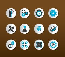 Set Of Black And Blue Icons. Stock Image