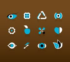 Set Of Black And Blue Icons. Stock Photography