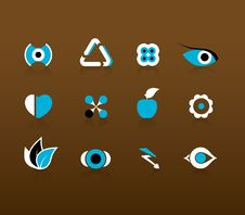 Set Of Black And Blue Icons. Royalty Free Stock Photography