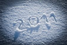 Year 2011 Written In Snow Stock Photo