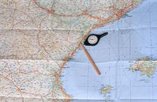 Free Map, Pencil And Curvimeter Royalty Free Stock Image - 17539096