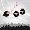 Free Birds Singing (black Version) Stock Images - 17540114