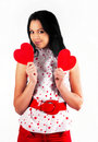 Free Beautiful Brunette Hugs A Big Soft Heart. Stock Photography - 17543882