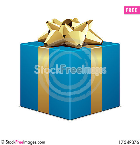 Free Blue Gift With Gold Bow Royalty Free Stock Image - 17549376
