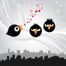 Free Birds Singing (black Version) Stock Images - 17540114