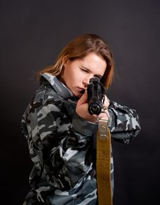 Free Girl Holding Gun Stock Photos - 17540143