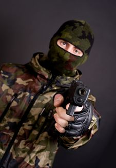 Free Man Holding Gun Stock Photo - 17540300