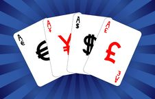 Free Four Currency Aces Stock Images - 17540314