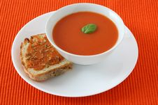 Free Tomato Soup With Toast Stock Photo - 17540490