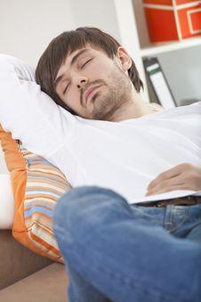 Free Man Napping At Home Royalty Free Stock Photo - 17541095