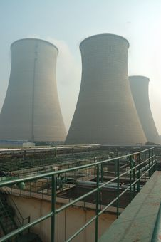 Air Pollution From Chimney And Wastewater Treatmen Stock Photos