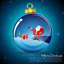 Merry Christmas Card With Santa Stock Photos