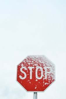 Free Stop Sign In The Winter Royalty Free Stock Image - 17542206