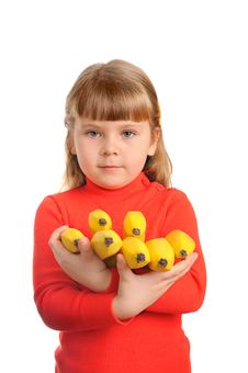 Girl Holds A Sheaf Of Bananas Royalty Free Stock Images