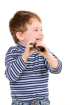 Free Little Boy With A Microphone Royalty Free Stock Image - 17542326