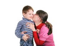 Free Mother Kisses The Small Son Royalty Free Stock Image - 17542346