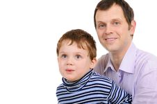 Portrait Of The Father With The Small Son Stock Image