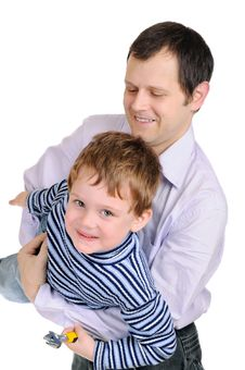 Father With The Small Son Stock Images