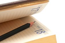 Free Pencil In An Open Diary Stock Images - 17542494