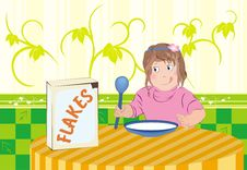 Free Child Eating Flakes Stock Photography - 17542592
