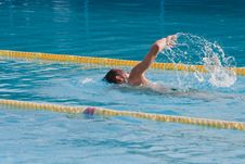 Free Man Swimming In Pool Stock Image - 17542701