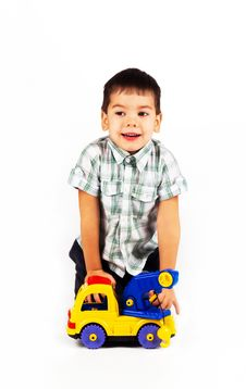 Free Happy Little Boy Playing With Cars And Toys. Royalty Free Stock Photo - 17542715