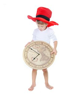 Free Child In Big Hat With Clocks Over White Stock Photo - 17544360