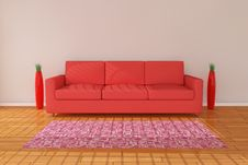 Sofa 3d Rendering With Vase Stock Image