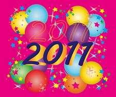 Free New Year Card With Boluses And Stars Royalty Free Stock Image - 17544736