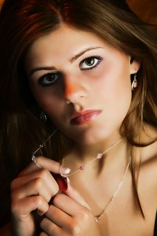 Free Beautiful Young Woman With Necklace Royalty Free Stock Photo - 17545025