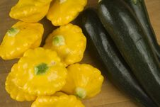 Green And Yellow Squash Marrow Pumpkin Stock Images