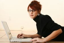 Free Concerned Woman With Laptop Stock Photos - 17545153